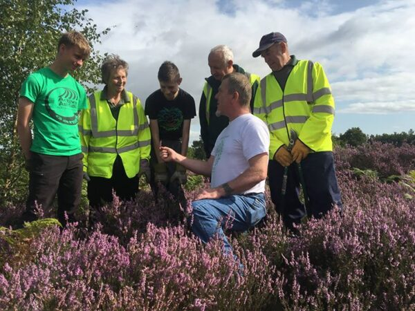 andy with kids on heathland
